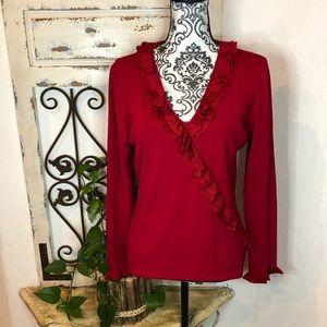 Radzoli red ruffle detail faux wrap knit top